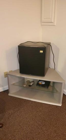 D- Small Mini Refrigerator & TV Stand