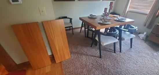 L- Art Deco Dining Table with 7 Chairs