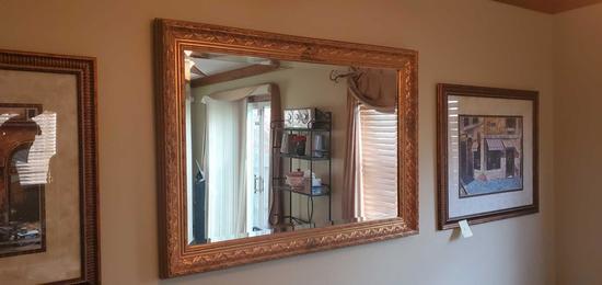 L- Gold Metal Leaf Beveled Wood Framed Mirror