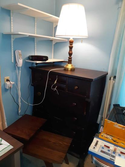 U- Antique Dresser, Lamp, Clock Radio & End table