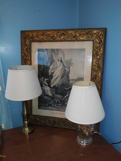 2 Lamps & Framed Engraving