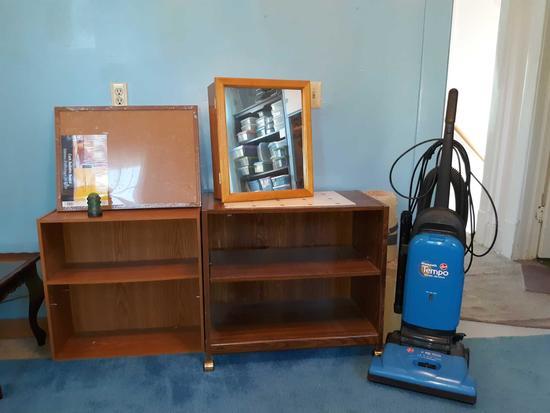 U- Hoover Tempo Vacuum, bookcase, microwave cart, medicine cabinet, bulletin board, insulator