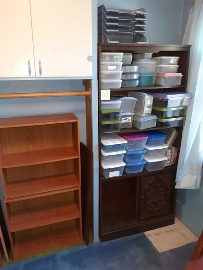 U- 3 Bookcases & plastic storage containers