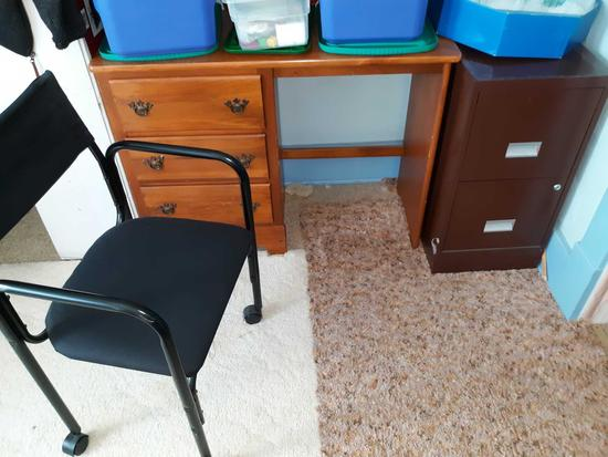 U- Wood desk, Metal file cabinet, Office chair