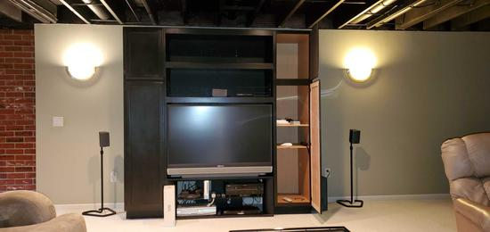 B- Large Cabinet with Mitsubishi Television