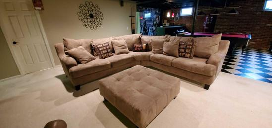 B- Large Microfiber Sectional with Large Ottoman