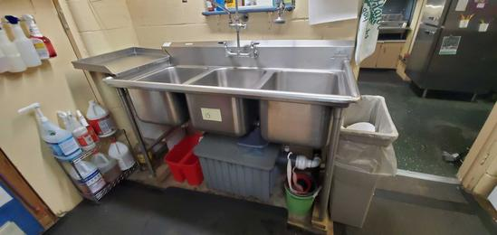 K- Advanced (3) Tub Stainless Steel Sink with Sprayer