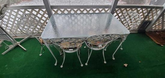 Porch- Glass Top Wought Iron Table & (4) Chairs