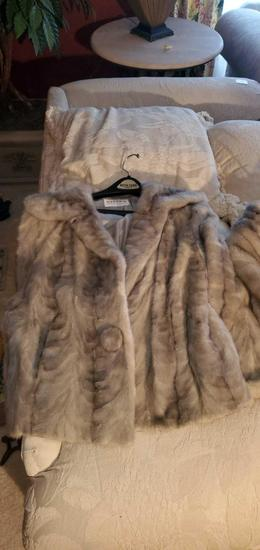 HC- Gray Mink Coat & Throw Vest