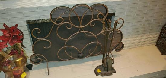 FR- Fireplace Screen & Tools