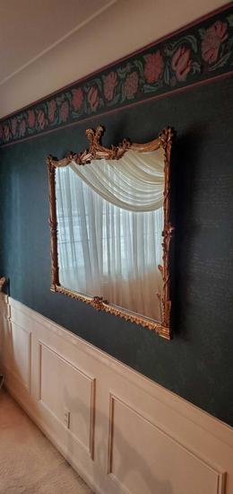 D- Wall Hanging Large Mirror with Gold Wood Frame