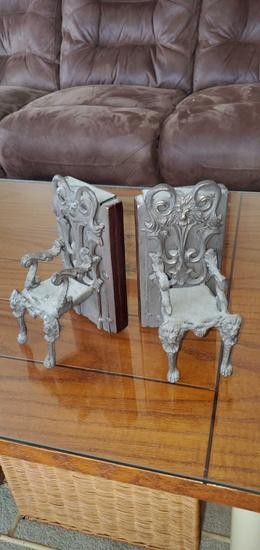 FR- Cast Metal Chair On Wood Bookends