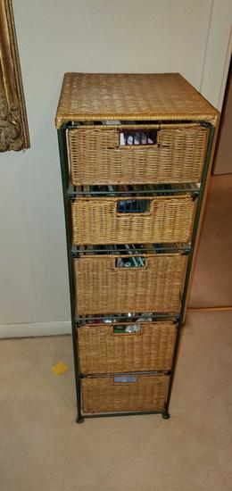 FR- (5) Wicker Drawers on Metal Frame