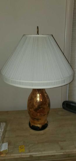 MB- Pair of Metal Floral Gold Lamps