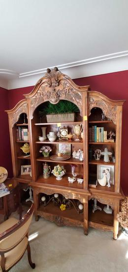 L- Carved Wood Large Bookcase