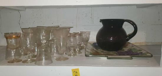 BS- Lot of Crystal, Platter, Purple Pitcher