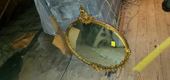 A- Gold Wood Framed Mirror