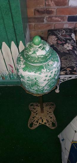 P- Oriental Vase on Metal Stand