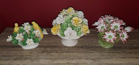 D- Lot of (3) Porcelain Floral