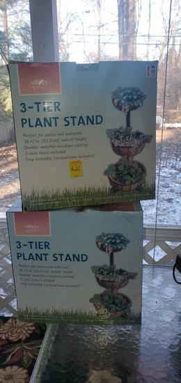 P- (2) 3- Tier Plant Stands
