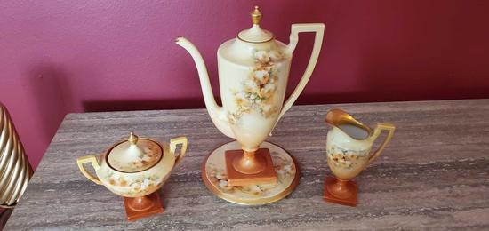 D- J P L France Hand Painted Porcelain Set of (3)