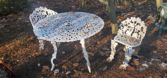 O- Cast Iron Table & 2 Tables