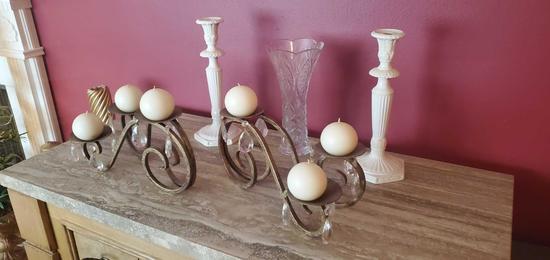 D- Pair Lenox Candle Holders, Metal Candleholders & Crystal Vase