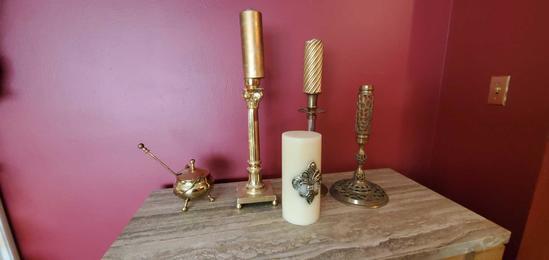 L- Candlesticks, Pillar, Brass Mortar & Pedestal