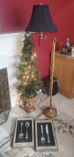L- Floor Lamp, Lighted Artificial Tree, Prints