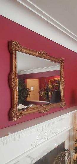 L- Gold Painted Wood Framed Wall Mirror