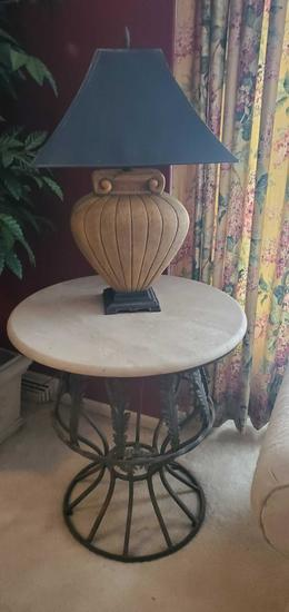 L- Table with Cultured Stone Top & Metal Base, Including Lamp