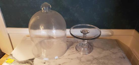 L- Large Glass Dome & Cake Server