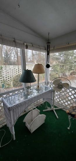 P- White Wicker Sofa/Wall Table, 2 Lamps, Fan, Wicker Magazine Rack & Wind Chime