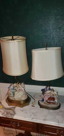L- Antique Pair of Porcelain Lamps