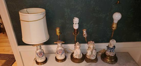 L- (5) Antique Porcelain Ladies Bust Lamps