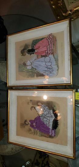 L- Pair of Antique Fashion Embellished Prints