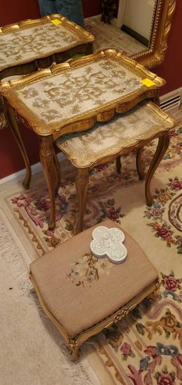 F- Nesting Tables, Ottoman & Decor
