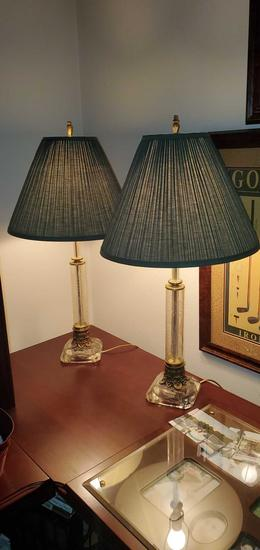 O- Pair of Lamps with Etched Glass