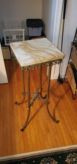 O- Marble Top Metal Plant Stand