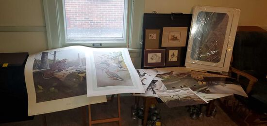LR- Large Lot of Prints/Drawings with Artist Box