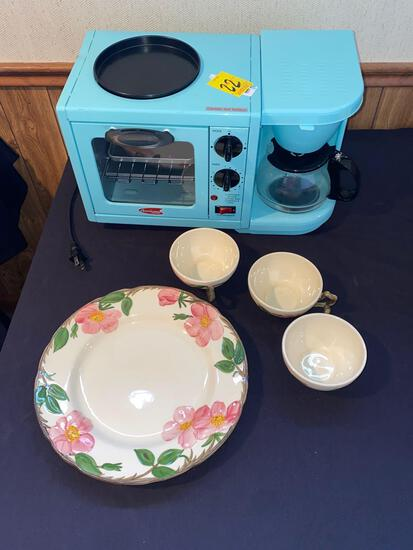 American Coffee Maker and Franciscan Dishes