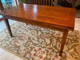 Wood Dining Table & Wool Area Rug