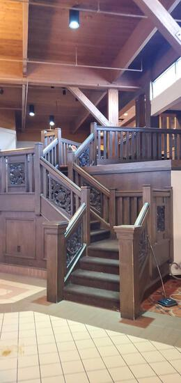 L- Solid Wood Staircase with Carvings and Railing