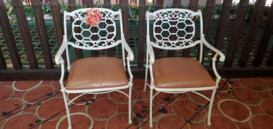 L- (2) White Painted Cast Iron Chairs with Cushions