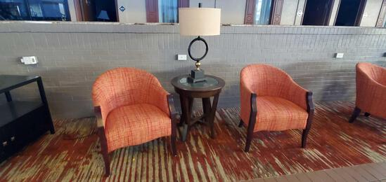 L- (2) Chairs, Table, Lamp