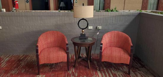 L- (2) Chairs, Table and Lamp