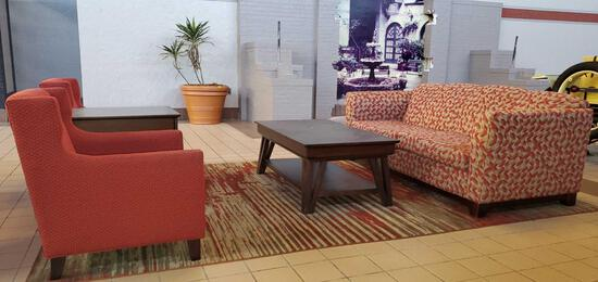 L- Sofa, Coffee Table, End Table and (2) Chairs