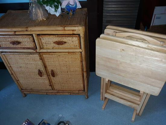 LR- Wicker Cabinet with Contents
