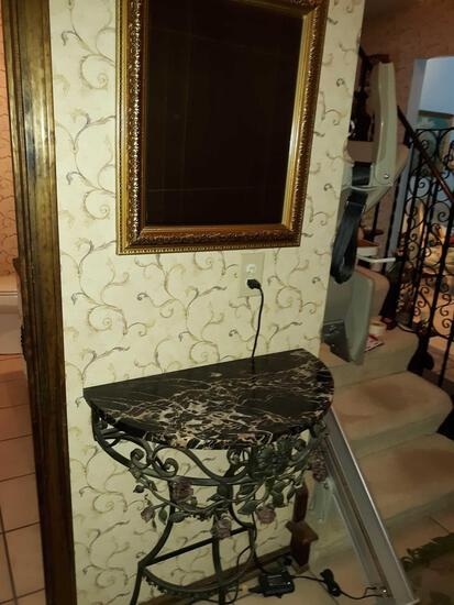 F- Antique Wall Table and Mirror
