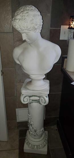 U- Plaster Bust of Man and Pillar